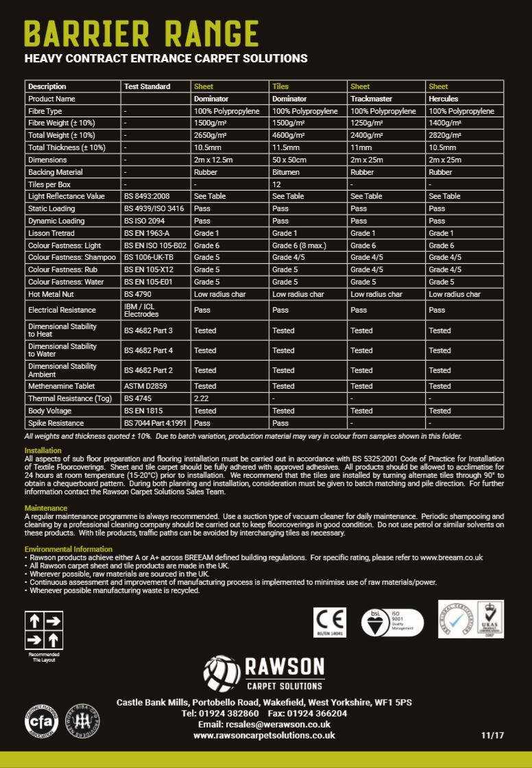 Barrier - Tech Sheet