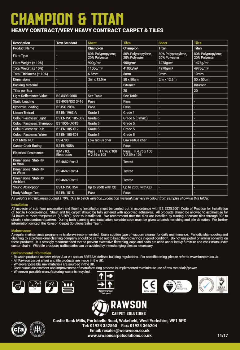 Champion & Titan - Tech Sheet