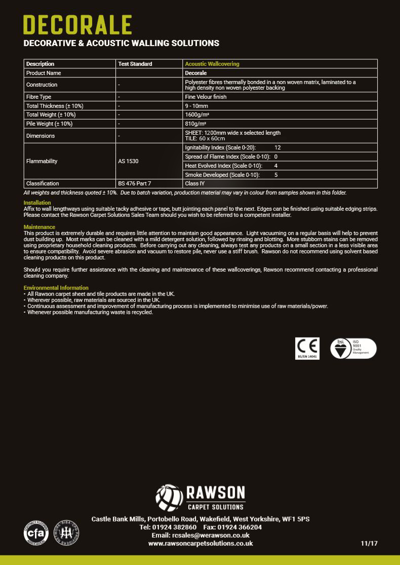 Decorale - Tech Sheet