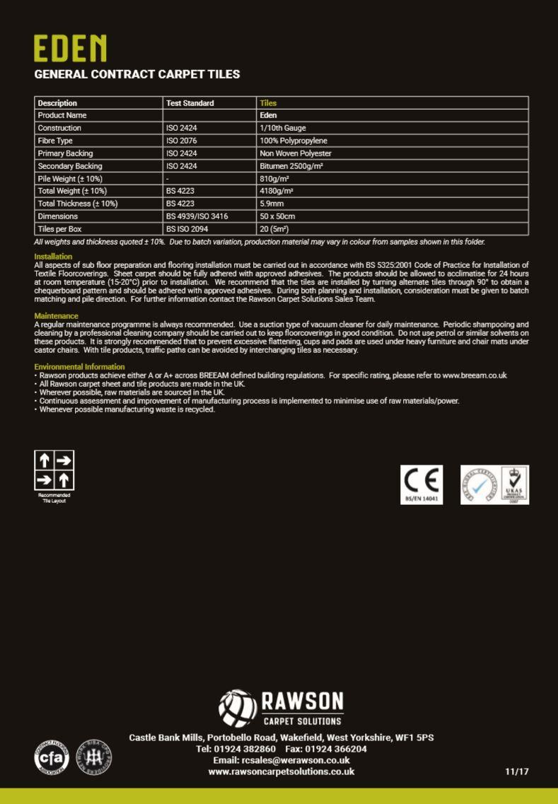 Eden - Tech Sheet