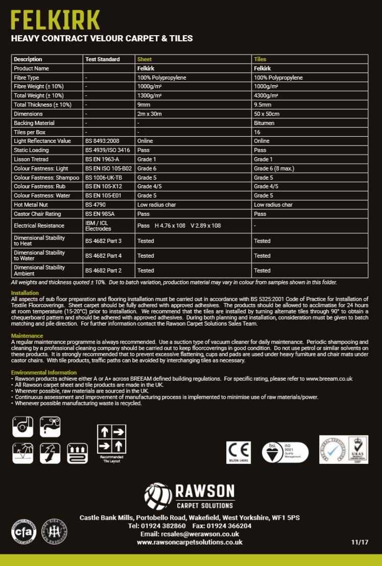 Felkirk - Tech Sheet