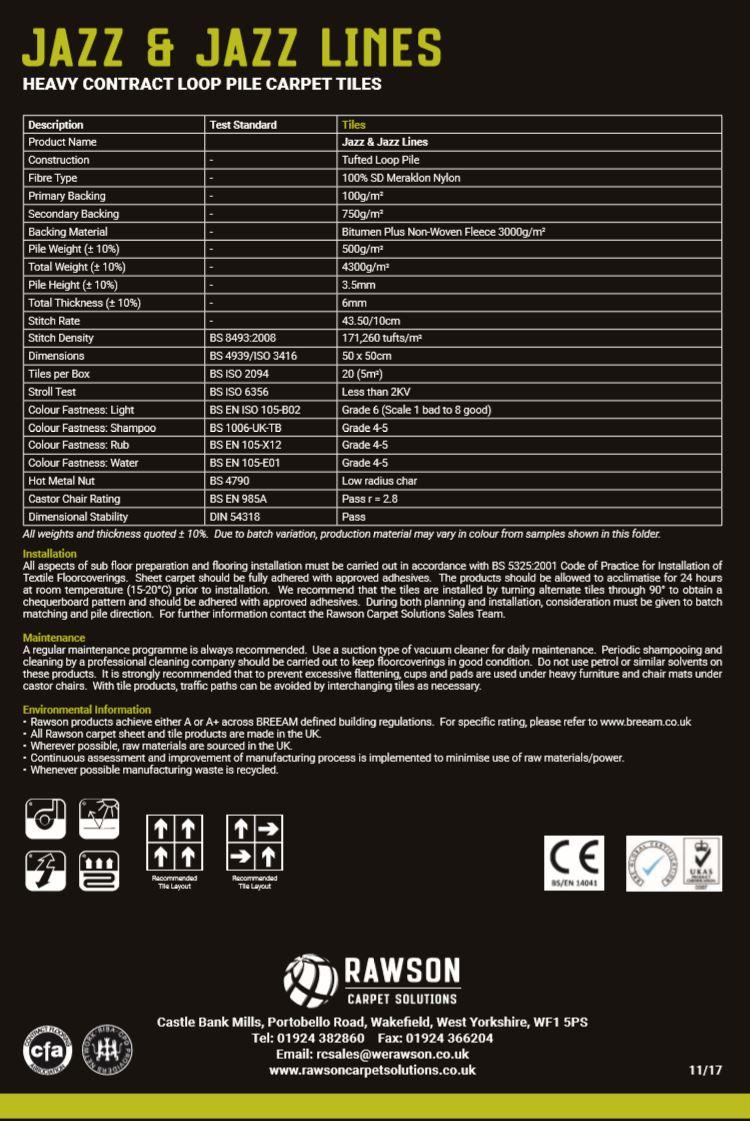 Jazz & Jazz Lines - Tech Sheet