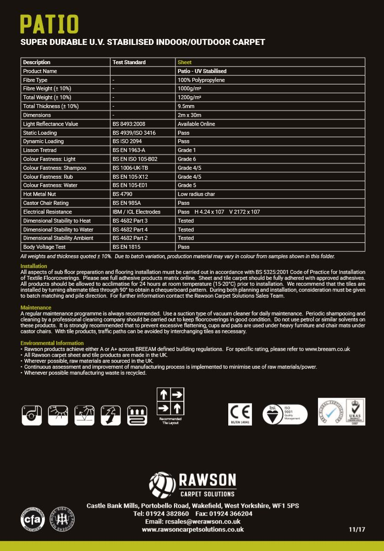 Patio - Tech Sheet