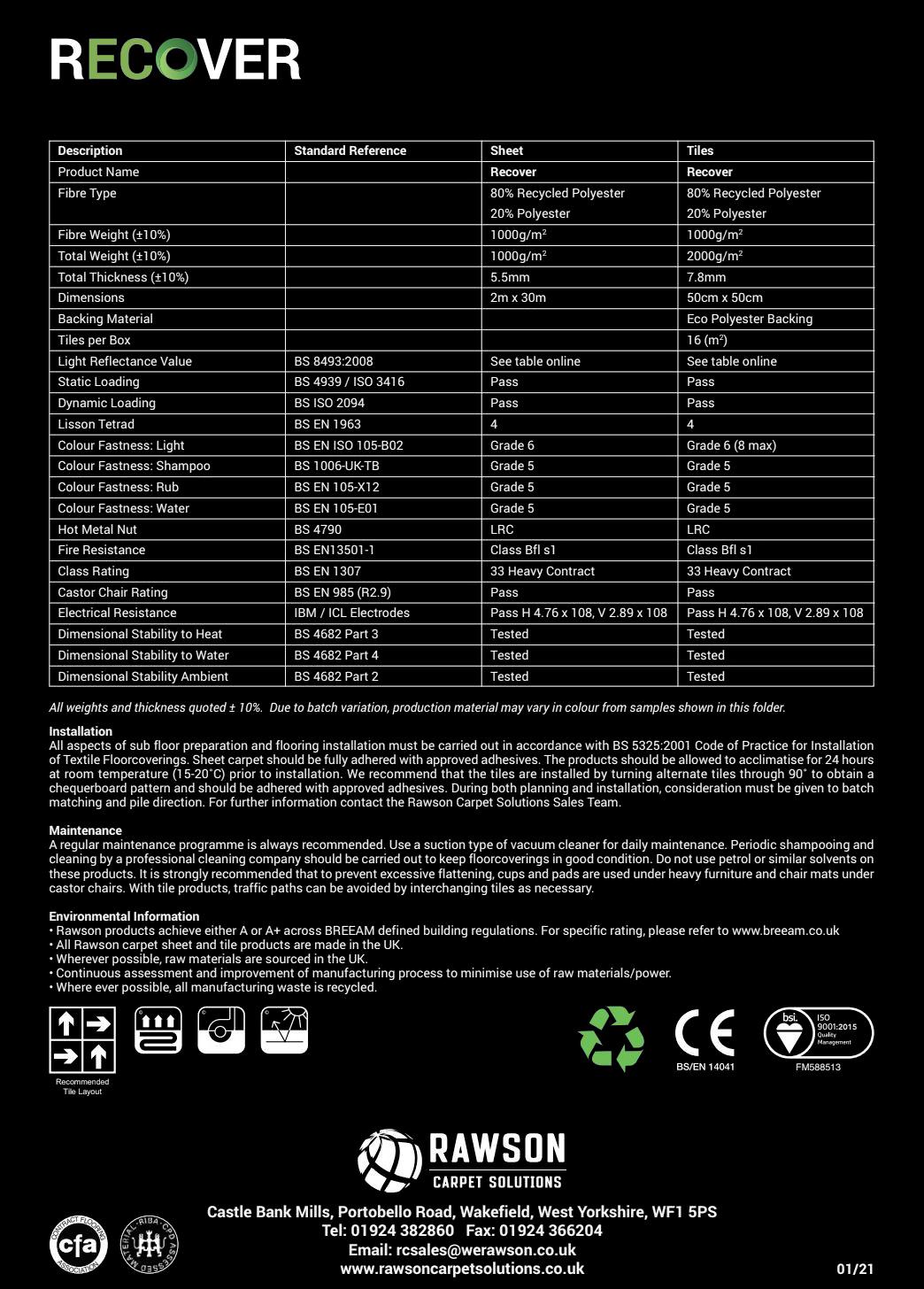 RECOVER - Tech Sheet